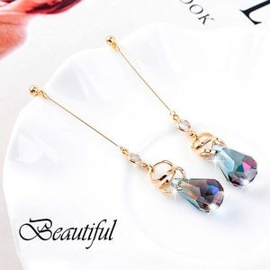 2/$20! Gold/Gray Drop Crystal Stud Earrings